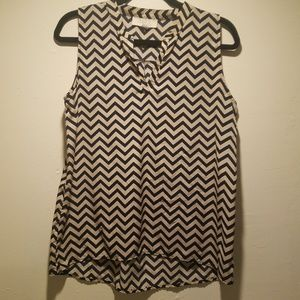 Blue and Beige Chevron sleeveless top